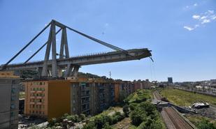 Aspecto de los restos del puente Morandi, en Génova, tras el...