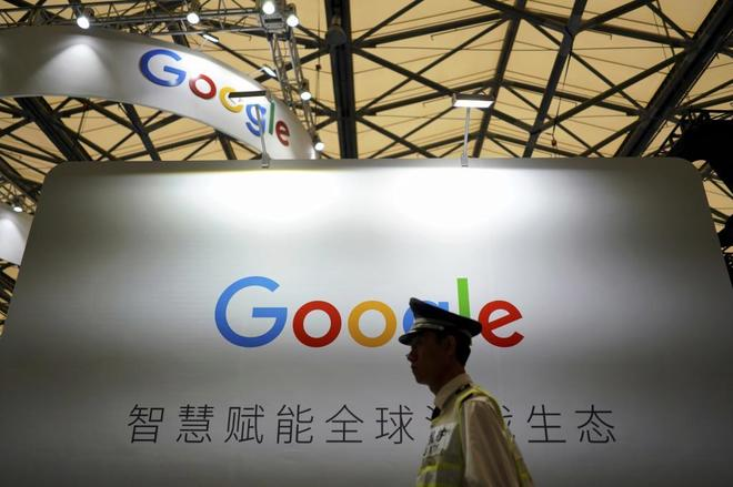 Un cartel de Google en la China Digital Entertainment Expo and Conference en Shanghái.