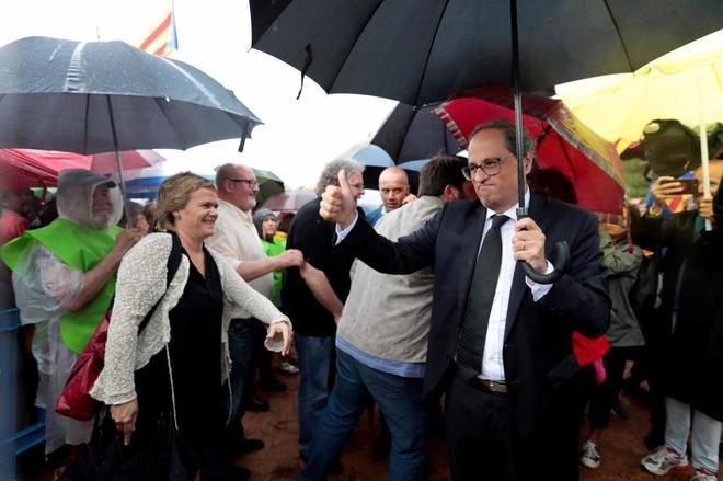 El presidente de la Generalitat, en el acto celebrado frente a la prisión de Lledoners.