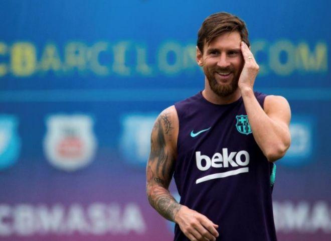 El azulgrana Leo Messi, durante el entrenamiento previo al partido frente al Alavés.