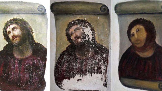 Proceso de restauración del Ecce Homo de Borja.