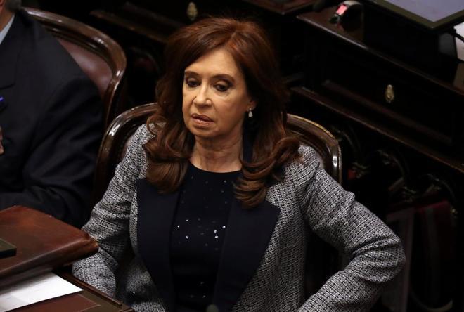 La ex presidenta Fernández de Kirchner, en el Senado de Buenos Aires.