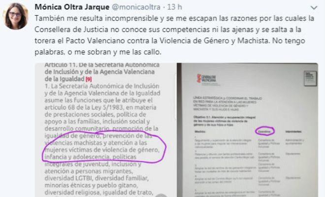 El final del hilo de Twitter publicado por Mónica Oltra.