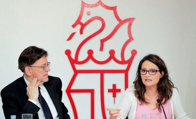 Ximo Puig y Mónica Oltra, en una rueda de prensa a principios de agosto.