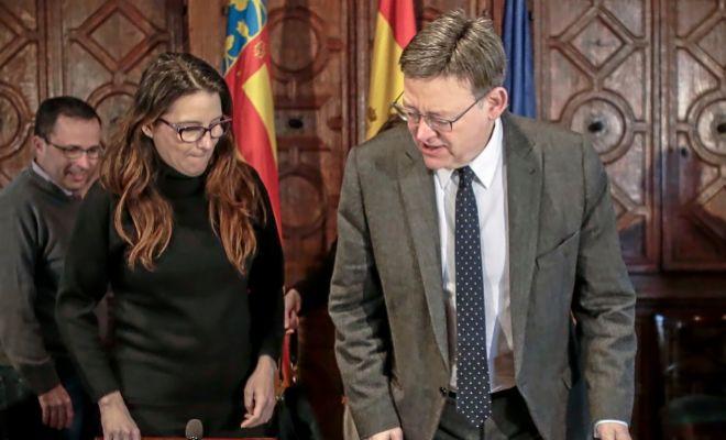 La vicepresidenta Mónica Oltra y el presidente Ximo Puig, en una reunión en el Palau de la Generalitat.
