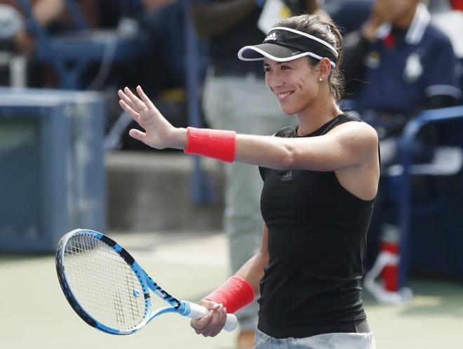 Muguruza celebra su triunfo en el US Open.