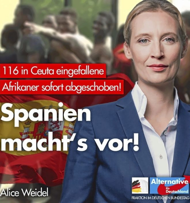 Cartel del partido ultraderechista Alternative für Deutschland...