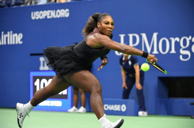 Aug 27, 2018; New York, NY, USA; Serena Williams of the USA hits to...