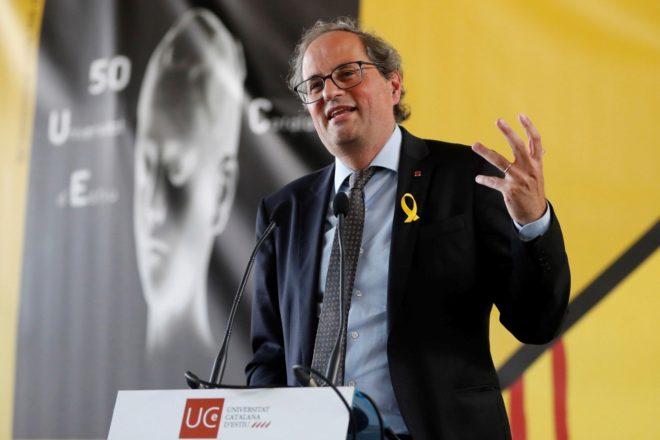 El presidente de la Generalitat, Quim Torra, da un discurso en la...