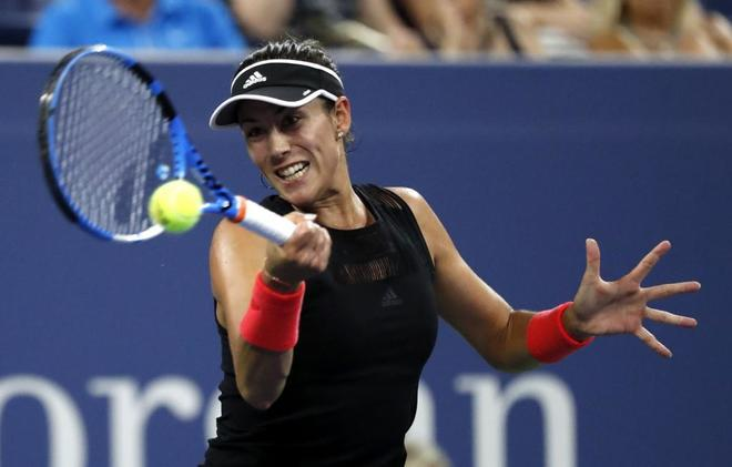 La tenista española Garbiñe Muguruza, en un momento del partido.
