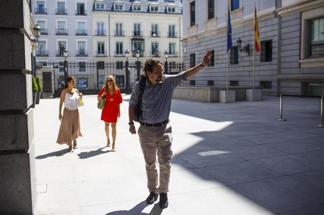 Pablo Iglesias, el pasado 2 de julio, en el patio del Congreso de los...