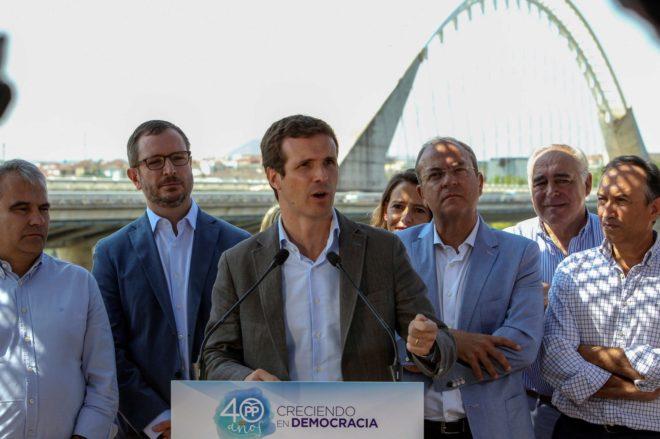 El presidente del Partido Popular, Pablo Casado, en un acto en...