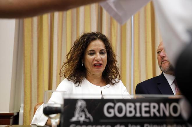 La ministra María Jesús Montero, durante su comparecencia en la...