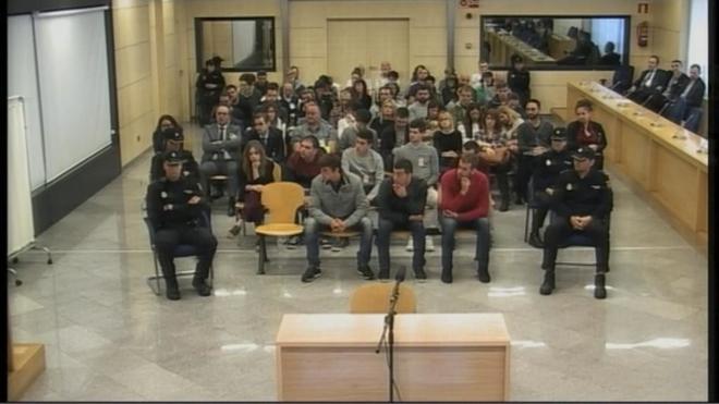 Los acusados, durante el juicio en la Audiencia Nacional.
