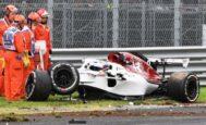 El Sauber de Ericsson, tras el accidente a final de recta en Monza.