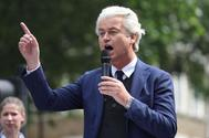 El líder ultraderechista Geert Wilders, durante un mitin.