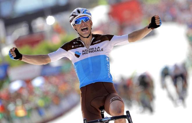 Tony Gallopin, tras cruzar la línea de meta de la séptima etapa de La Vuelta.