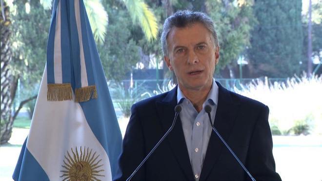 El presidente argentino, Mauricio Macri, anunciado el acuerdo con el...