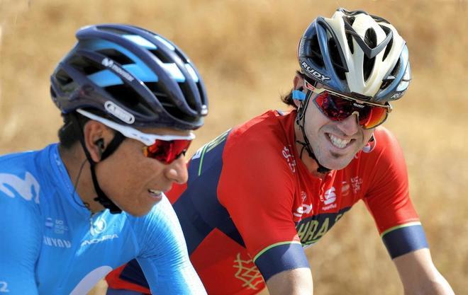 Nairo Quintana y Jon Izaguirre, durante la octava etapa de La Vuelta.