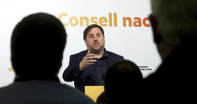 Oriol Junqueras en el Consell Nacional de ERC en octubre de 2017