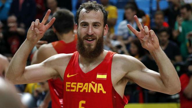 Sergio Rodríguez, en uno de sus últimos partidos con España.