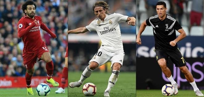 Mo Salah, Luka Modric y Cristiano Ronaldo, en una imagen de esta temporada.