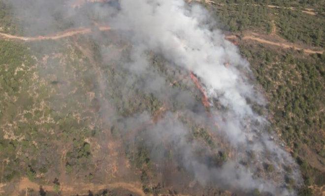 Vista aérea del incendio en Requena.