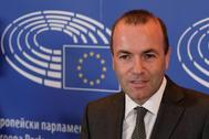 El líder del Partido Popular Europeo, Manfred Weber, tras anunciar su candidatura a presidir la Comisión Europea.