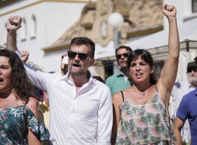 Antonio Maíllo y Teresa Rodríguez, durante el acto en homenaje a Blas Infante el pasado 10 de agosto.