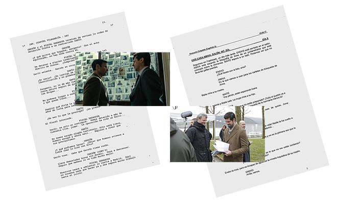 A la izquierda, fotograma de 'Fariña' sobre una página de su guion. A la derecha, Miguel Ángel Muñoz repasa su papel en 'Presunto culpable'