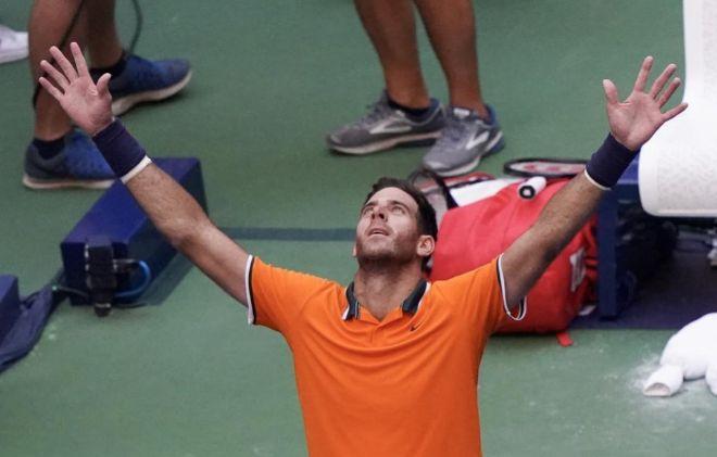 Juan Martin del Potro celebra una victoria en el US Open.