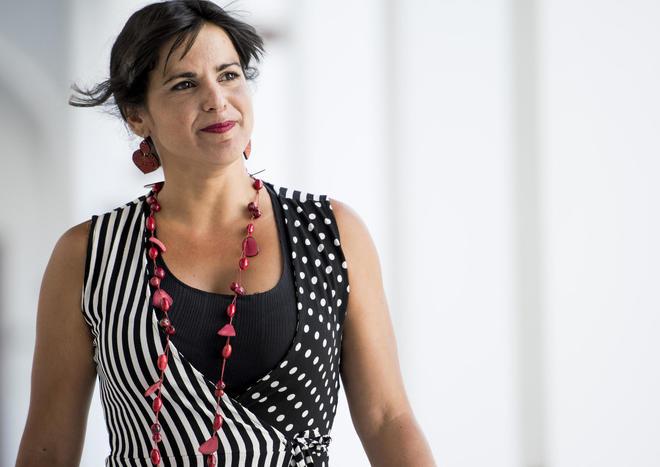Teresa Rodríguez, esta semana en los pasillos del Parlamento andaluz.