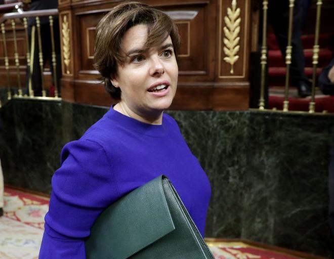 Soraya Sáenz de Santamaría, el jueves pasado a su llegada al Congreso de los Diputados.