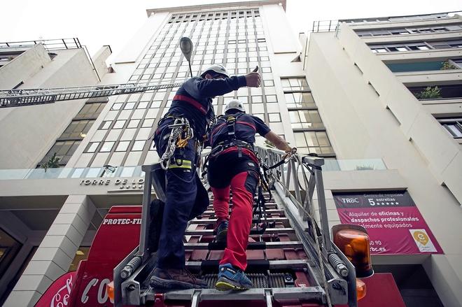 Carrera de bomberos en la Torre de los Remedios en el año 2016.