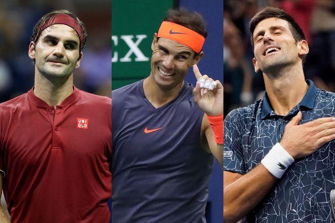 Federer, Nadal y Djokovic, durante el US Open.