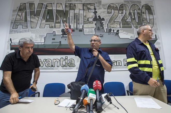 El presidente del comité de empresa del astillero de Navantia San...