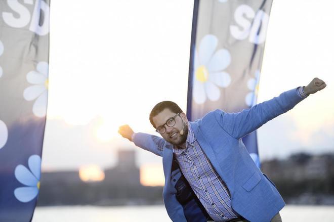El líder de la extrema derecha sueca, Jimmie Åkesson, celebra el resultado de las últimas elecciones.