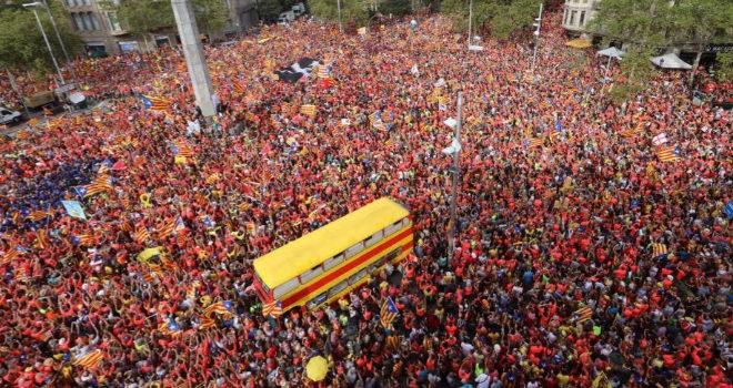 Manifestación del 11 de Septiembre de 2018 en la Diagonal de Barcelona