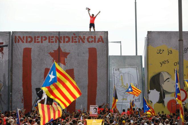 Ambiente durante la jornada de la Diada de Cataluña.
