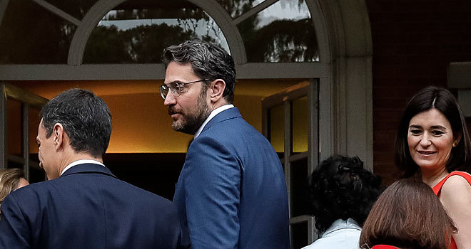 Màxim Huerta y Carmen Montón, en el Palacio de la Moncloa en el...