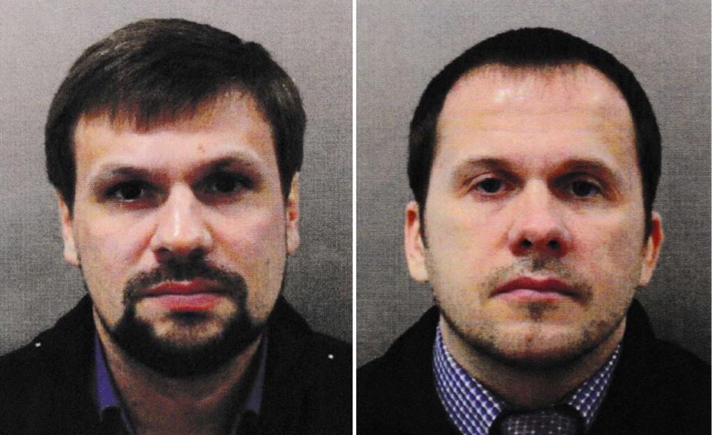 Los ciudadanos rusos Alexander Petrov (d) y Ruslan Boshirov (i), sospechosos del envenenamiento del ex espía ruso Sergei Skripal y su hija Julia el pasado marzo en Salisbury.