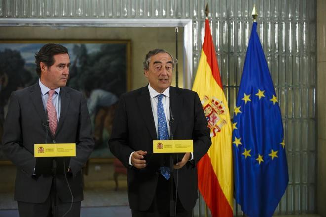 Antonio Garamendi y Juan Rosell, durante una comparecencia conjunta.