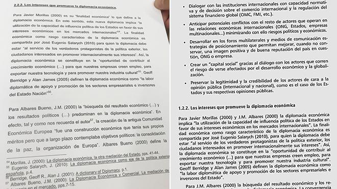A la izquierda, una de las páginas de la tesis de Pedro Sánchez; a...