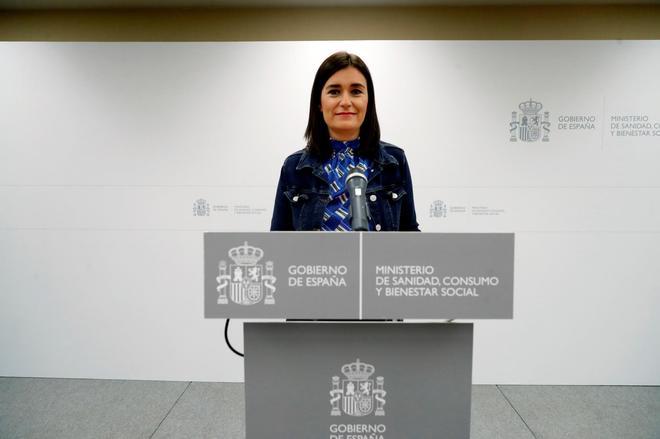 La ex ministra de Sanidad Carmen Montón, durante el anuncio de su...
