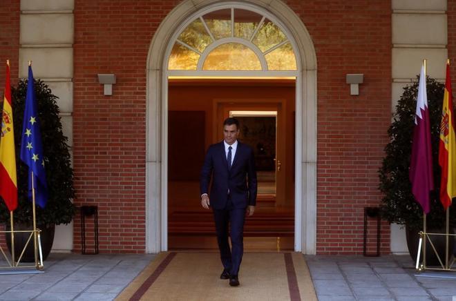 El presidente del Gobierno, en Moncloa este jueves.