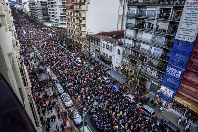 Manifestación de jubilados pidiendo una subida de las pensiones.
