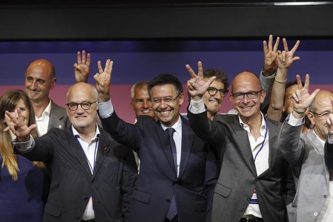 Bartomeu celebra su triunfo electoral en 2015 junto a Monje, Vilarrubí, Cardoner y Arroyo.