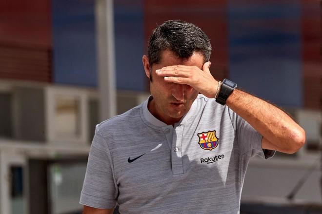 Ernesto Valverde, técnico del Barcelona, este viernes en Sant Joan Despí.