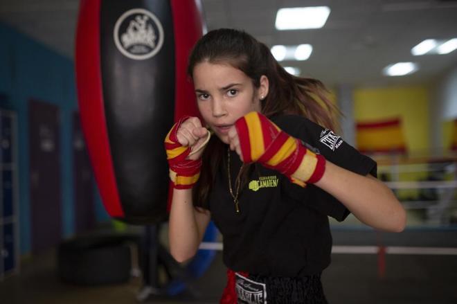 Laura Barceló, en un gimnasio de Camarena (Toledo).