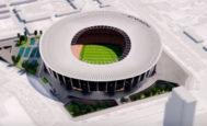 Figuración de la última modificación hecha por el Valencia en el diseño de su nuevo estadio en la Avenida de las Cortes Valencianas. EL MUNDO
